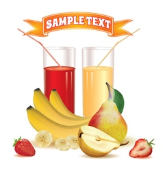 Glasses with juice bananas and pear strawberry vector