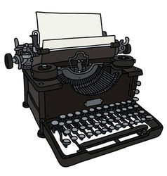 Old black typewriter vector image