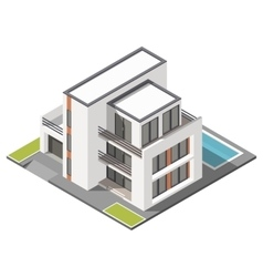 Modern three storey house with flat roof sometric vector