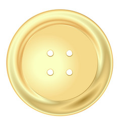 Gold round sewing button vector