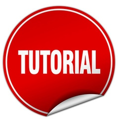 Tutorial round red sticker isolated on white vector