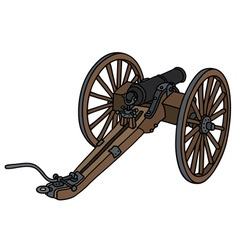 Historic wooden cannon vector