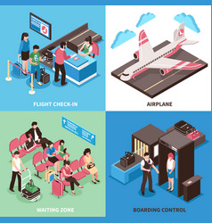 Airport departure concept isometric design vector