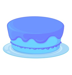 Blue cake in a dish vector