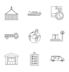 Cargo icons set outline style vector