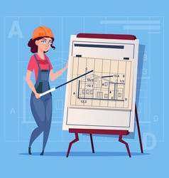 Cartoon female builder explain plan of building vector