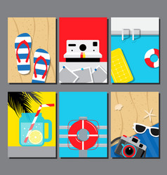 Collection of summer seasand water poster vector