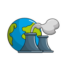 Earth planet with polluction factory vector