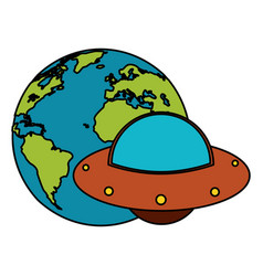 Earth world ufo image vector