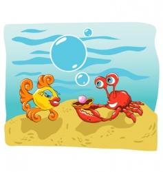fish and crab vector image