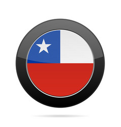 Flag of chile shiny black round button vector