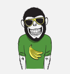 Funny smiling monkey vector
