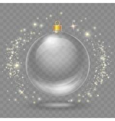 Glass transparent christmas ball xmas design vector