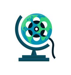 globe movie world cinema festival film vector image