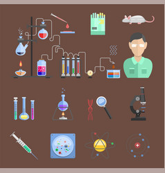 Lab symbols test medical laboratory scientific vector