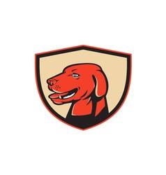 Labrador golden retriever dog head shield retro vector