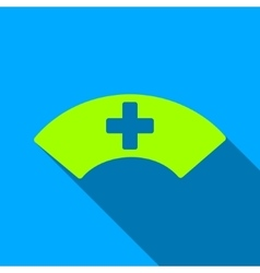 Medical visor flat long shadow square icon vector