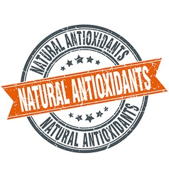 Natural antioxidants round orange grungy vintage vector