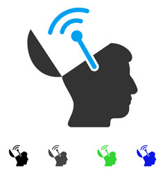Open brain radio interface flat icon vector