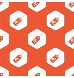 Orange hexagon euro price pattern vector