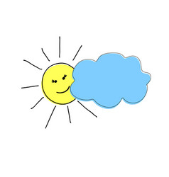 pattern handmade happy sun peeking from behind vector image