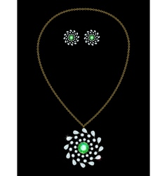Pendant and earrings vector image