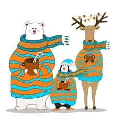 penguin with bear and deer Christmas vector image