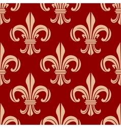 Red royal fleur-de-lis seamless pattern vector