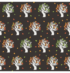 Seamless retro tree pattern vector image vector image