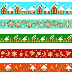 Set of Christmas borders vector image vector image