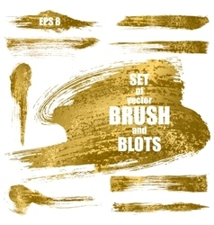 Set of gold brushes vector