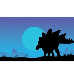Silhouette of stegosaurus at the night vector