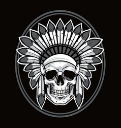 Skull of native american indian warrior vector
