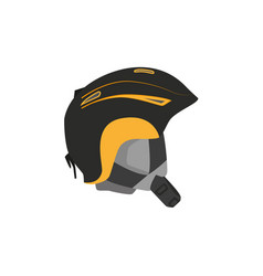 Snowboarding helmet flat icon isolated vector