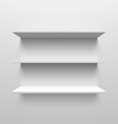 Three white shelves vector image vector image