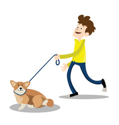 young smiling man walking with the dog vector image