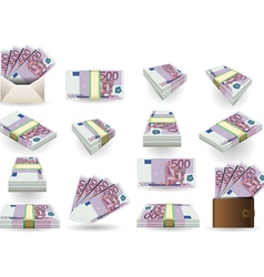 Full set of five hundred euros banknotes vector