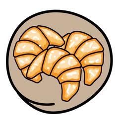 Three Fresh Croissants on Round Brown Background vector image