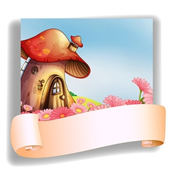 A mushroom house with a signage vector
