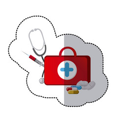 color suitcase health with stethoscope syringe vector image