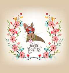 Happy easter card template rabbit cute invitation vector