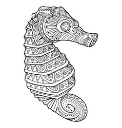 Sea horse style for coloring page vector