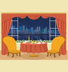Restaurant with city view vector