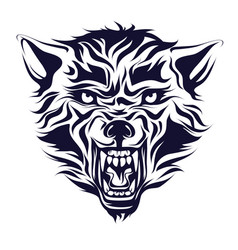 emblem logo tattoo head of a wolf vector image