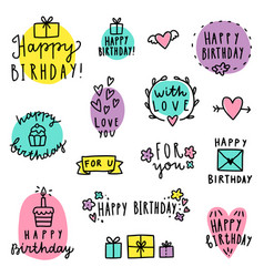 Set of birthday lettering vector