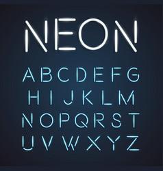 neon font city text night alphabet vector image