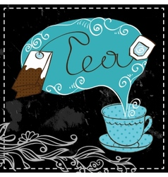Tea time design template vector image