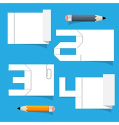 Empty white paper sheet with stickers and pencils vector