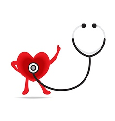 Stethoscope and a healthy heart vector
