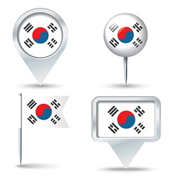 Map pins with flag of south korea vector